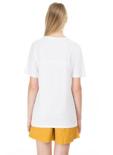 Lela Lela Bisiklet Yaka Kadın T Shirt 5411070CAM Beyaz